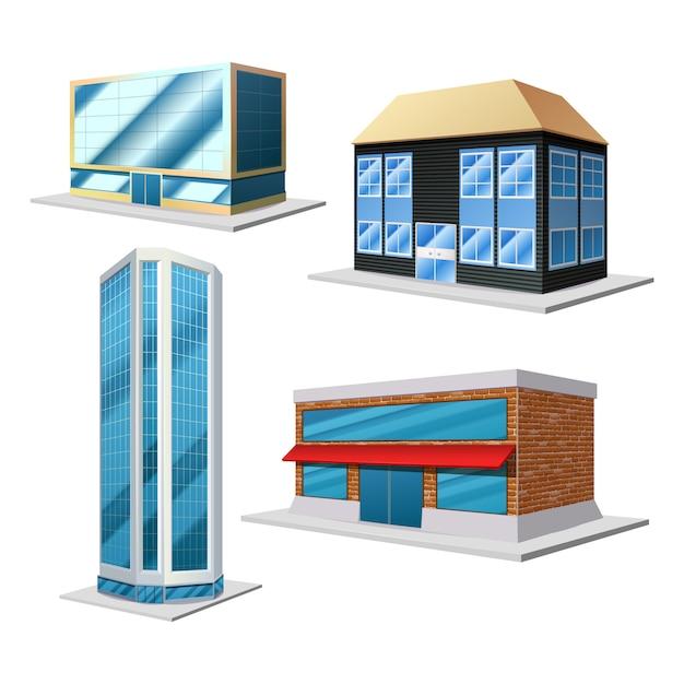 建物3 d装飾セット 無料ベクター