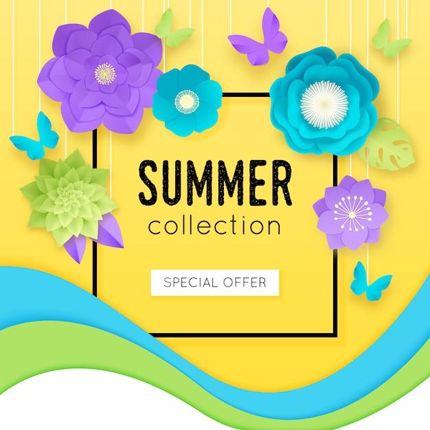 中心部のベクトル図で夏コレクション特別オファーの見出しと3 dの紙の花のポスター 無料ベクター