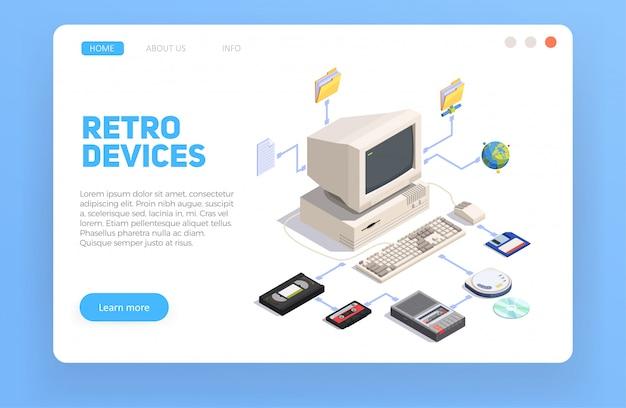 パソコンと他のレトロなガジェットと等尺性組成物3 d 無料ベクター