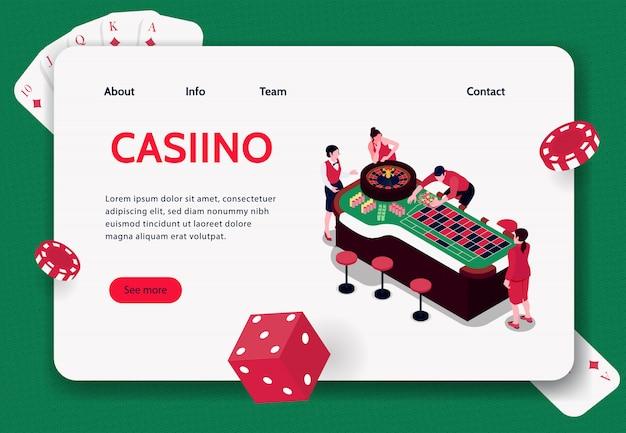 カジノ3 dイラストでルーレットをプレイする人々と等尺性概念バナー 無料ベクター