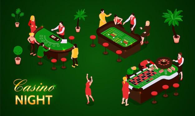 緑の背景の3 dイラストを分離したカジノ等尺性のアイコンセットでギャンブルの人々 無料ベクター