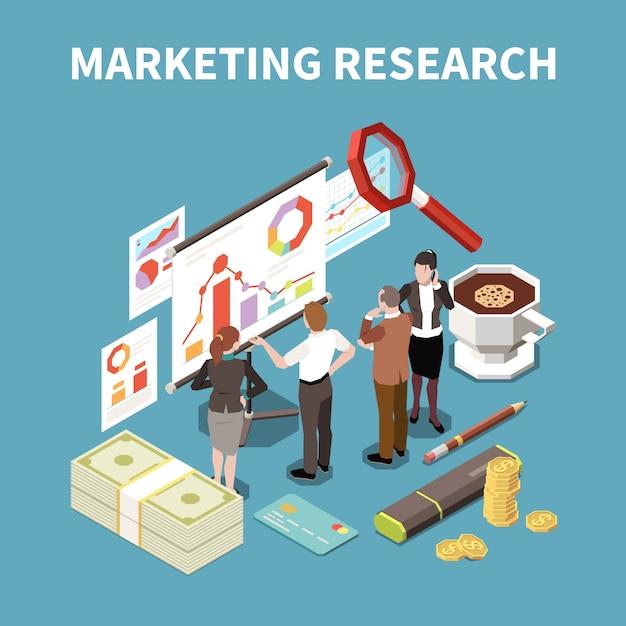 マーケティング調査の説明と等尺性の属性図の色の3 dビジネス戦略構成 無料ベクター