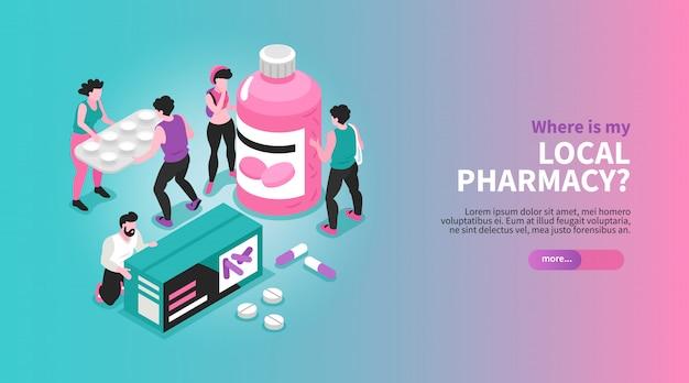 薬パッケージ概念3 dイラストを保持している人々と等尺性水平薬局バナー 無料ベクター