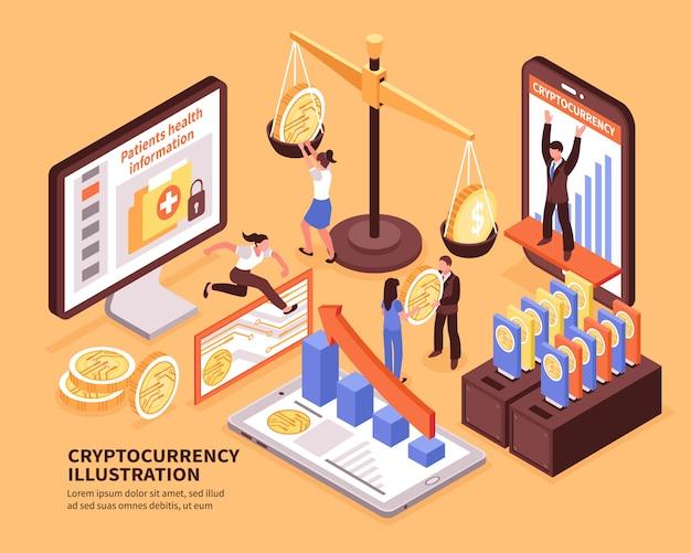 カラフルな等尺性暗号通貨ビットコイン成長概念3 d水平ベクトル図 無料ベクター