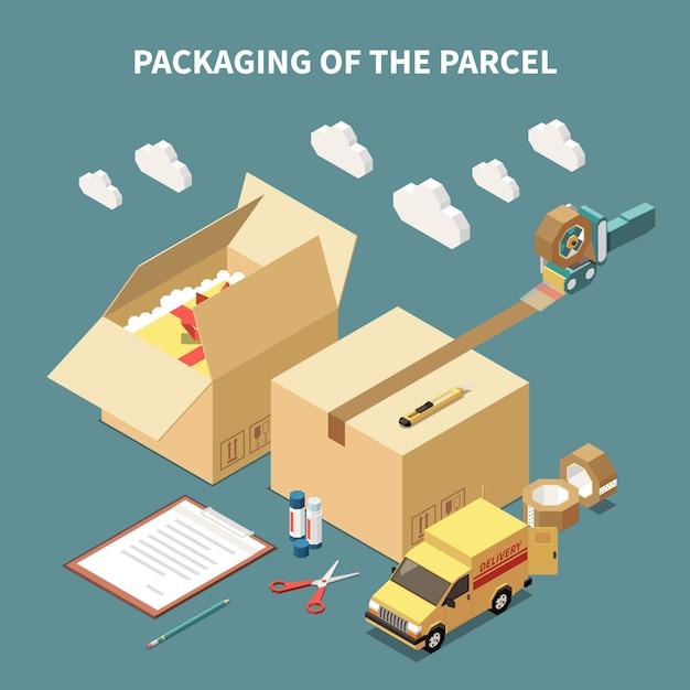 段ボール箱配送車と小包包装等尺性概念3 dベクトル図のツール 無料ベクター