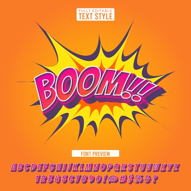 創造的な爆発コミックフォント3 dスタイル効果漫画ポップアート文字イラストやバナーのアルファベットテキスト Premiumベクター