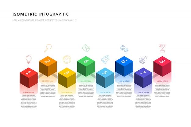 現実的な3 d立方体要素と等尺性インフォグラフィックタイムラインテンプレート Premiumベクター