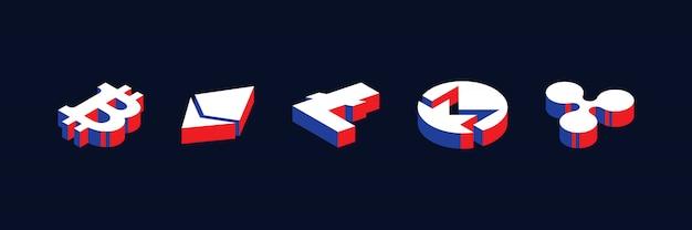 赤、青、白の色で幾何学的な3 d形状スタイルのさまざまな暗号通貨の等尺性記号 Premiumベクター