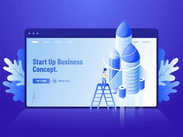 青いウェブサイトのランディングページデザイン、ビジネスコンセプトを開始するためのロケットが付いている梯子の上に立っている人間の3 dイラストを広告します。 Premiumベクター