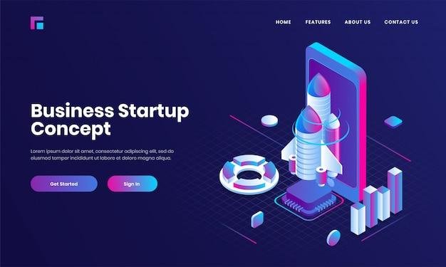 ビジネススタートアップコンセプトのスマートフォン、ロケット、インフォグラフィックグラフの3 dイラストレーションと紫色のウェブサイトのランディングページデザイン。 Premiumベクター