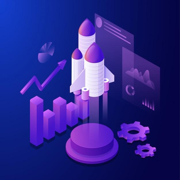 インフォグラフィック要素と複数の画面を持つロケットの3 dイラストレーション Premiumベクター