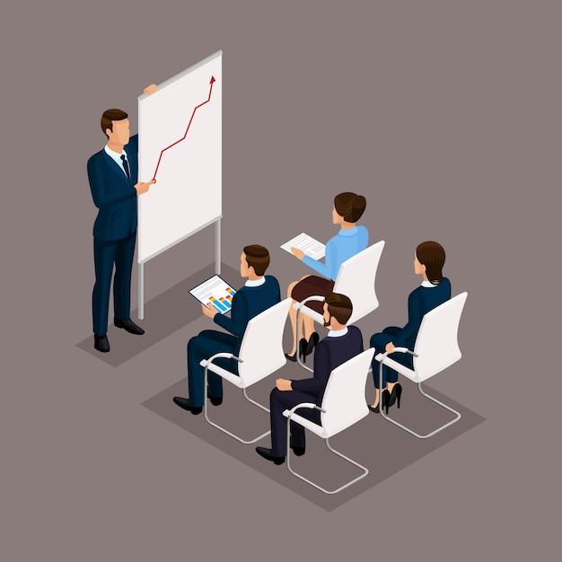 等尺性の人々、ビジネスマン3 dビジネスの女性。教育グループオフィスの従業員、ビジネストレーニング、ビジネス状態。暗い背景の従業員 Premiumベクター