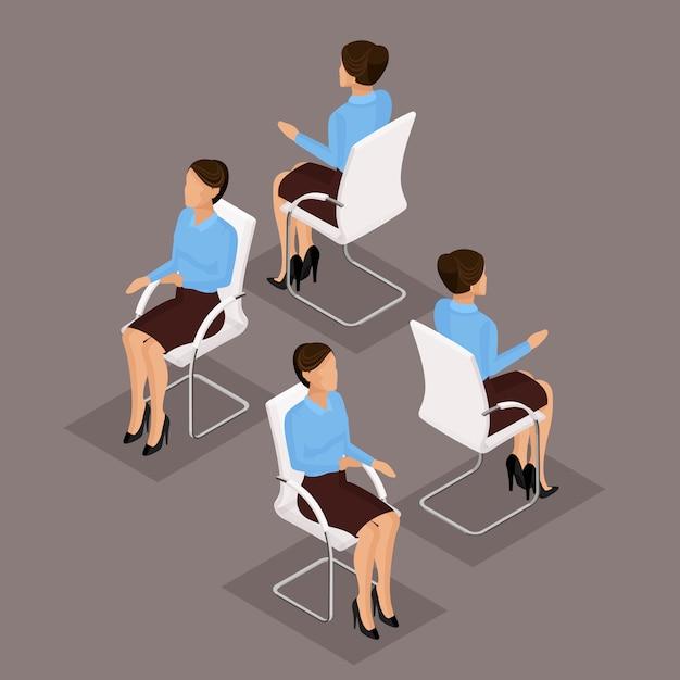 トレンド等尺性人セット、ビジネススーツ、椅子に座っている3 d実業家、正面図と分離された背面図。ベクトル図 Premiumベクター