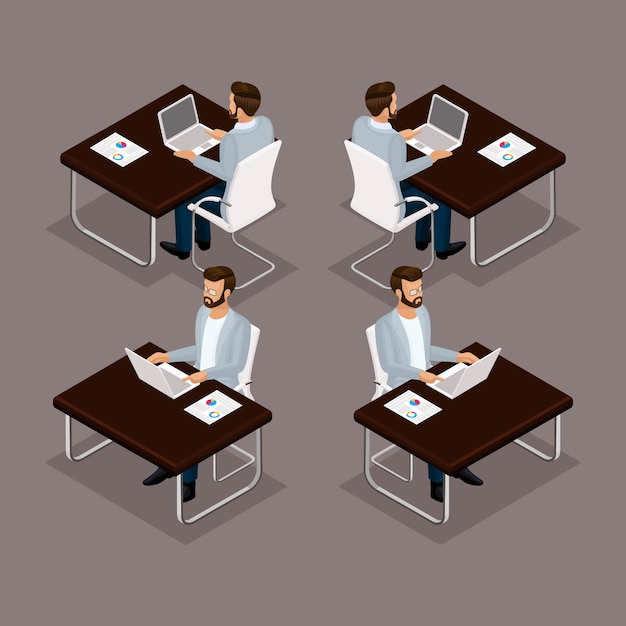 トレンド等尺性人セット、ラップトップの正面、背面、メガネ、スタイリッシュな髪型ヒップスター、分離されたスーツのオフィスワーカーの男の彼の机で働く3 dビジネスマン Premiumベクター