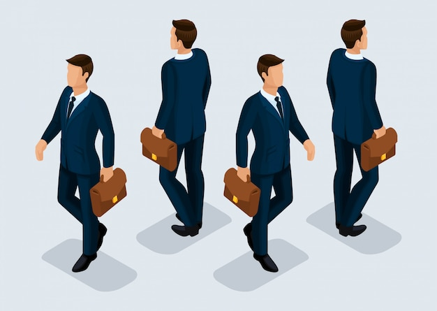 トレンド等尺性人セット、ビジネススーツ、人々のジェスチャー、正面図と背面図の3 dビジネスマン Premiumベクター