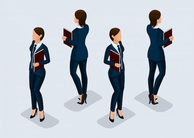 トレンド等尺性人セット、ビジネススーツ、人々のジェスチャー、正面図と背面図の3 d実業家 Premiumベクター