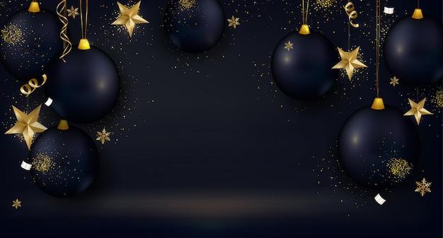 黒いクリスマスボール、3 d星、金の紙吹雪、グリーティングカード、黒の背景に点灯します。 Premiumベクター