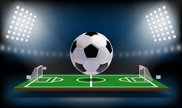 フットボールまたはサッカーの競技場3 dボール。 Premiumベクター
