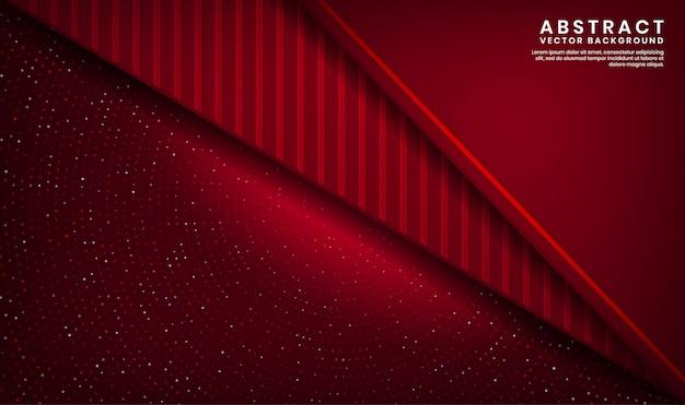 ドットキラキラとウッドテクスチャ形状の暗い空間上の抽象的な3 d赤い豪華な背景重複レイヤー Premiumベクター