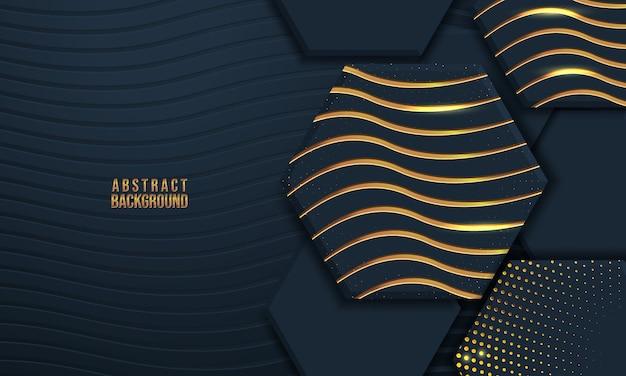 3 d形状と波のテクスチャと抽象的な背景 Premiumベクター