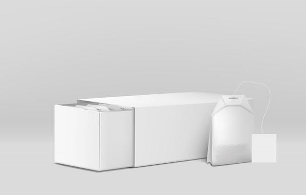 ハーブティー包装3 dベクトルモックアップテンプレート 無料ベクター