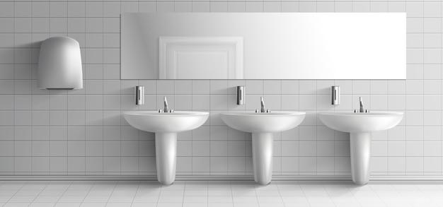 公衆トイレのミニマルなインテリア3 dリアルなベクトルモックアップ。金属製の蛇口、石鹸ディスペンサー、ハンドドライヤーユニット、白い耕された壁の図の上の長い鏡とセラミックシンク洗面台 無料ベクター