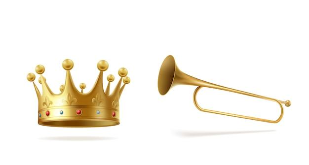 宝石と白い背景に分離された銅のファンファーレとゴールデンクラウン。君主の冠をかぶった頭飾りと式典の発表、王室のシンボルを告白するトランペット。リアルな3 dベクトルイラスト。 無料ベクター