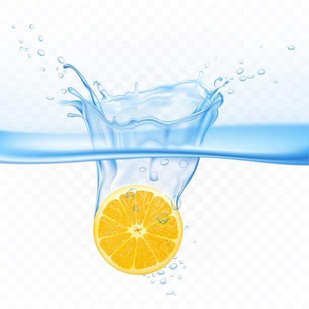 透明で隔離水のしぶき爆発のレモン。水面下の柑橘系の果物の周りに気泡があります。ジュースドリンク広告のためのデザイン要素リアルな3 dベクトルイラスト 無料ベクター