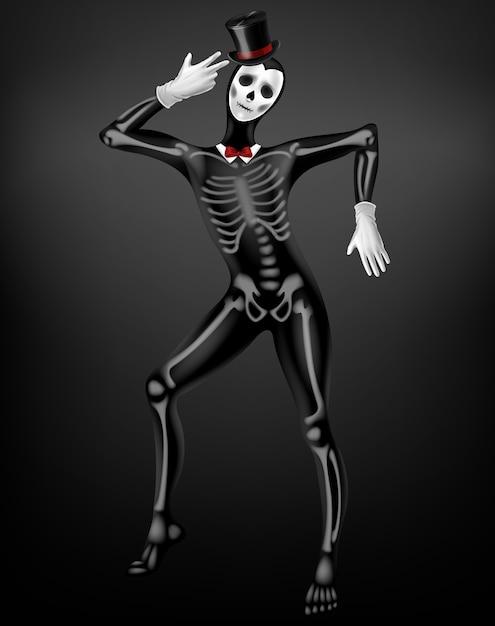スケルトンの骨、黒い布、シルクハット、白い手袋3 d現実的なベクトル上に描画頭蓋骨と死や死亡したタイトなスーツでパントマイム。ハロウィーンパーティー、デッドフェスティバルコスチュームイラストのメキシコの日 無料ベクター
