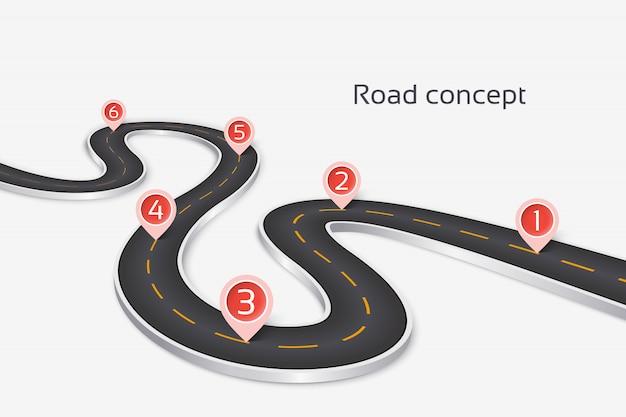 曲がりくねった3 d道路インフォグラフィックコンセプト Premiumベクター
