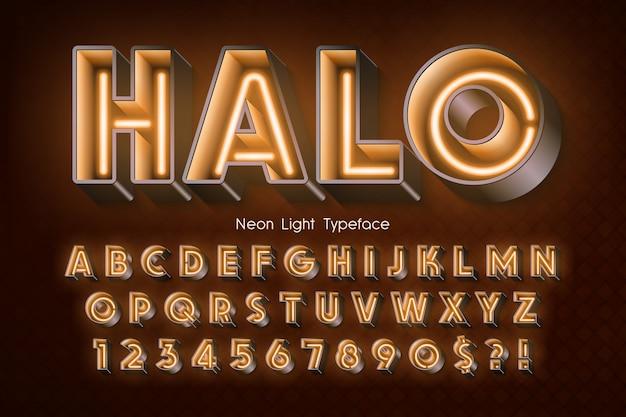 ネオンライト3 dアルファベット、余分な光るフォント。 Premiumベクター