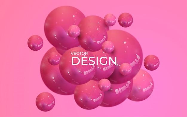動的な3 d球と抽象的な背景。プラスチックパステルピンクの泡。 Premiumベクター