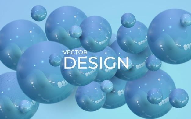 動的な3 d球と抽象的な背景。プラスチックパステルブルーの泡。 Premiumベクター