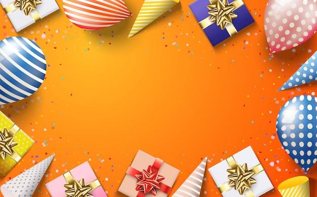 3 dの誕生日帽子のギフトボックスと風船のカラフルなイラストとパーティーの背景 Premiumベクター