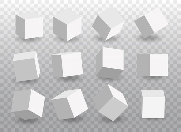 白いベクトル3 dキューブのセット。視点のキューブアイコン。 Premiumベクター