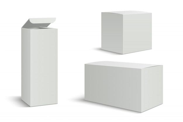 白い箱。薬用化粧品の空の3 dパックボックス。影付きの長い背の高い長方形の紙パッケージ Premiumベクター