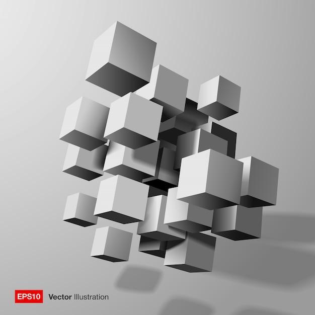 白い3 dキューブの抽象的な構成。図 Premiumベクター
