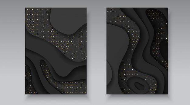 波状の層を持つ黒と金色のハーフトーン効果パターン。抽象的な現実的な紙は、図形のテクスチャをカットしました。 3 dの高級救済背景チラシパンフレットバナーカードカバーデザインテンプレートベクトルイラスト Premiumベクター