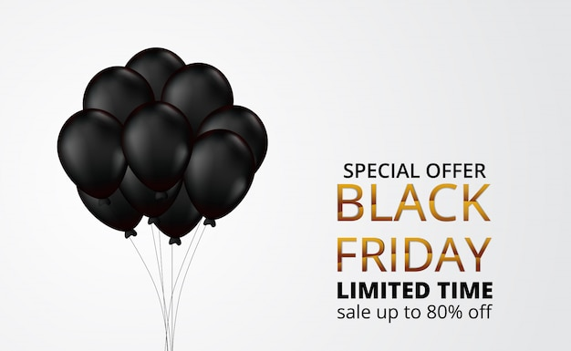 イラスト3 d飛行ヘリウムガス気球と黒い金曜日の特別セール Premiumベクター