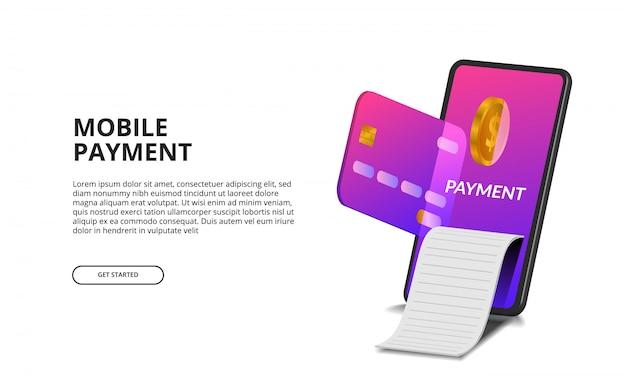 クレジットカード、黄金のコイン、および法案のイラストと3 d視点モバイル決済コンセプト。 Premiumベクター
