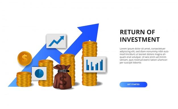 投資収益率、利益機会の概念。成功へのビジネスファイナンスの成長。 3 dゴールデンコイン矢印チャート図 Premiumベクター
