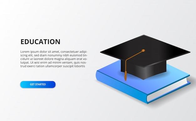 卒業の帽子と本3 d等尺性教育アカデミックコンセプト Premiumベクター