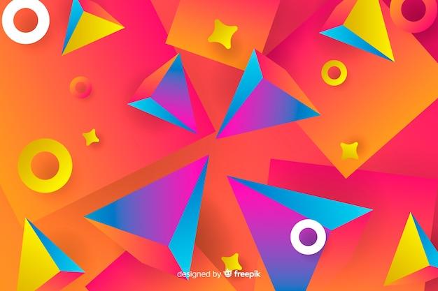 グラデーションの幾何学的な3 d図形の背景 無料ベクター