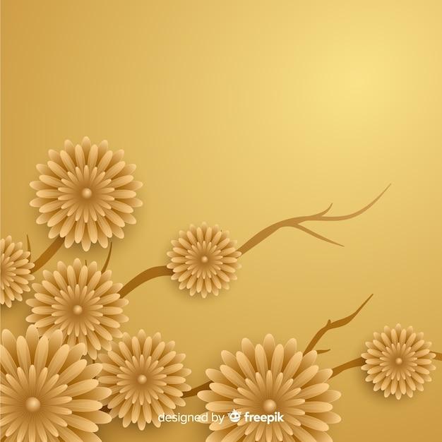 3 dの花と金色の背景 無料ベクター