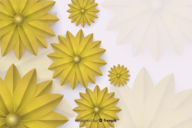 3 dの黄金の花の背景 無料ベクター