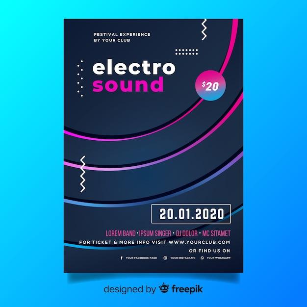 抽象的な3 d効果電子音楽ポスターテンプレート 無料ベクター