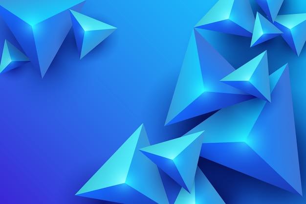 青い3 d三角形の背景 無料ベクター