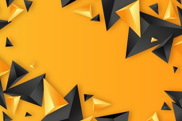 黒とオレンジの3 dの三角形の背景 無料ベクター