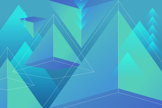 鮮やかな色の3 dの三角形の背景 無料ベクター