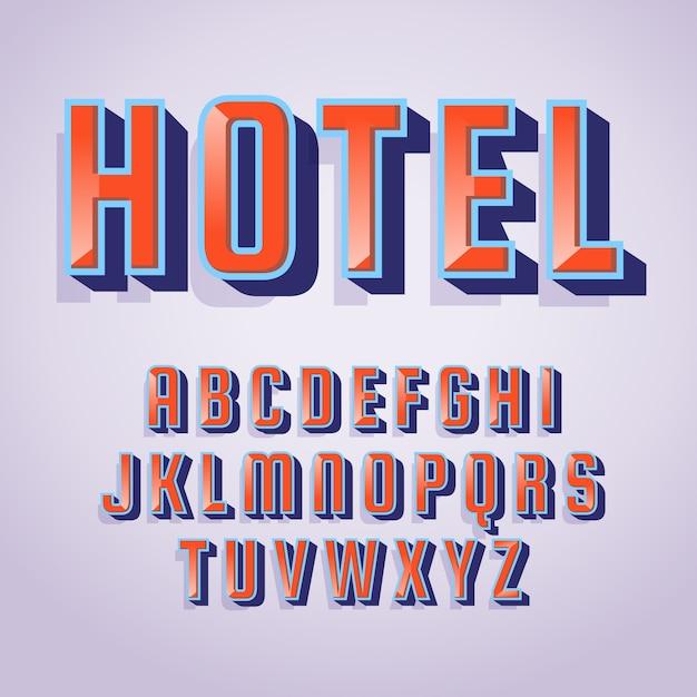 アルファベット文字と「ホテル」単語3 dレトロな効果 無料ベクター